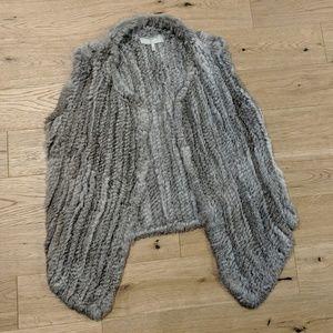Joie Andoni Rabbit Fur Vest Grey L